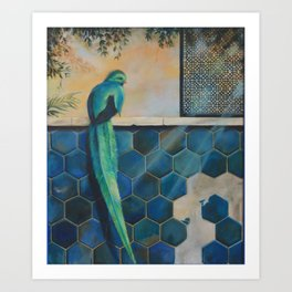 blue paradise bird Art Print