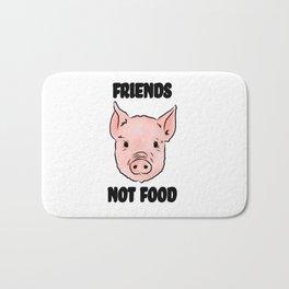 Cute Pig Vegan Friends Not Food Illustration Bath Mat