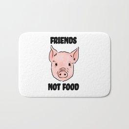 Cute Pig Vegan Friends Not Food Illustration Bath Mat