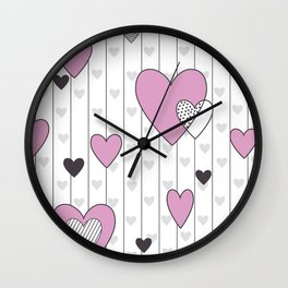 Many hearts graphic background Wall Clock