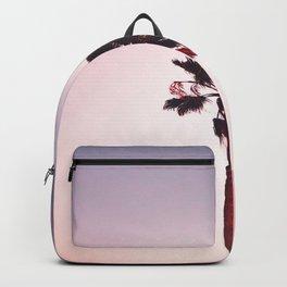 Pink And Purple Background Sunset Minimalist Palm Tree Silhouette Modern Photo California Backpack