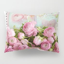 Shabby Chic Cottage Pink Floral Ranunculus Peonies Roses Print Home Decor Pillow Sham