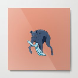 Greyhound catches the rabbit Metal Print