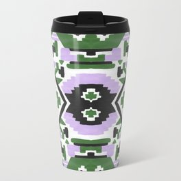 Geometric Aztec - Lilac and Forest Green Metal Travel Mug