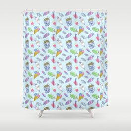 Cute candy and ice-cream pattern Shower Curtain