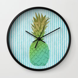 Gold and blue pineapple over blue strips Wall Clock