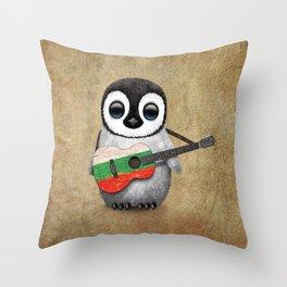 Baby Penguin Playing Bulgarian Flag Acoustic Guitar Throw Pillow