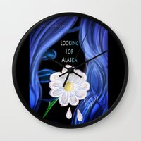 looking for alaska Wall Clocks featuring Looking For Alaska  by Lunah