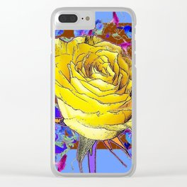 GRAPHIC YELLOW ROSE BLUE FLOWERS BROWN ART Clear iPhone Case