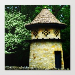 Hazy Spring Dovecote with a White Flowering Tree Canvas Print