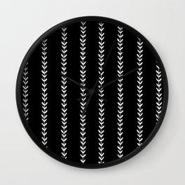 Linocut arrow stripes minimal black and white arrows chevrons Wall Clock
