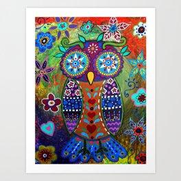 WHIMSICAL OWL MEXICAN FOLK ART PAINTING Art Print