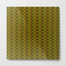 Aztec Art Deco Gold Copper Black Pyramid Tile Design Metal Print