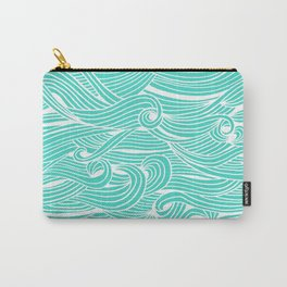 Water Drop – White on Turquoise Carry-All Pouch