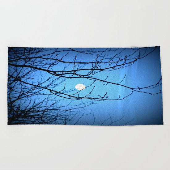 Moonlight at Dusk Beach Towel
