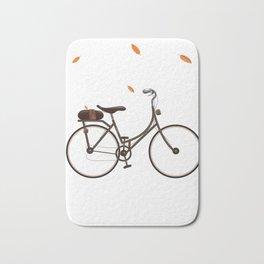Cycling cartoon poster Bath Mat