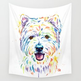 Westie Colorful Pet Portrait Watercolor Painting Wall Tapestry
