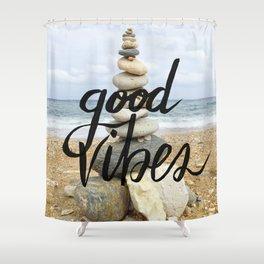 Good Vibes - Rock balancing Shower Curtain