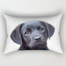 Puppy, Black Labrador, Baby Animals Art Print By Synplus Rectangular Pillow