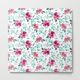 Watercolor fuchsia turquoise hand painted floral Metal Print