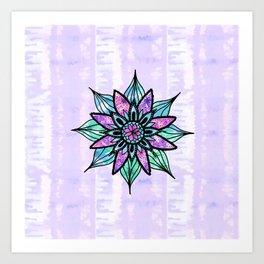 Hand Drawn Watercolor Flower on Purple Tie Dye Art Print
