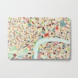CITY OF LONDON MAP ART 01 Metal Print