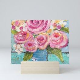Shabby Chic Pink Rose Farmhouse Flowers Mini Art Print
