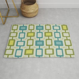 Mid Century Modern Square Columns Turquoise Chartreuse Rug