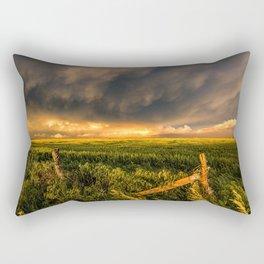 Breadbasket - Golden Light Illuminates Fence and Field in Kansas Rectangular Pillow