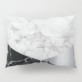 Geometric White Marble - Black Granite & Silver #230 Pillow Sham