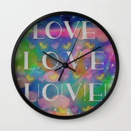 Love L.o.v.e. L!o!v!e! Wall Clock