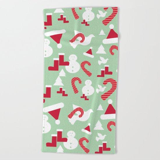 Funky Christmas Snow Beach Towel