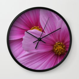 Two Pink Flowers Macro Wall Clock