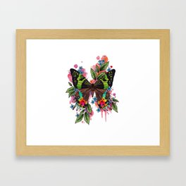 Neo Traditional Sunset Moth and flowers Framed Art Print