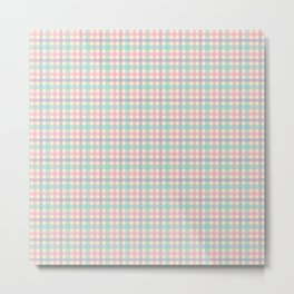 Purple, Pink & Green Plaid Pattern with Yellow Background Metal Print