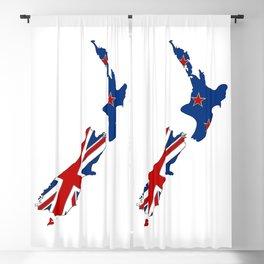 New Zealand Map with Kiwi Flag Blackout Curtain