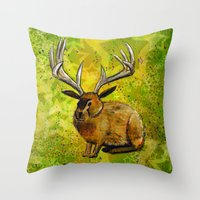 jackalope Throw Pillows featuring Jackalope by Rob Sassi
