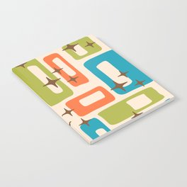 Retro Mid Century Modern Abstract Pattern 921 Orange Chartreuse Turquoise Notebook