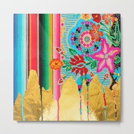 Gold Dipped Boho Serape Dream Metal Print