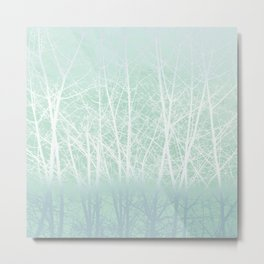 Frosted Winter Branches in Misty Green Metal Print