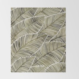 Tropical Leaves – Taupe Palette Throw Blanket