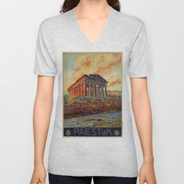 Paestum ancient Greek temple Unisex V-Neck
