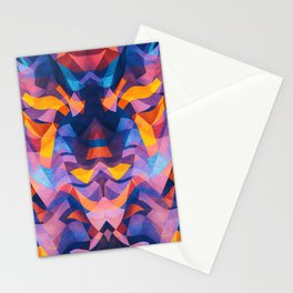 Abstract Surreal Chaos theory in Modern Blue / Orange Stationery Cards