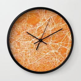 Clermont-Ferrand, Gold, Blue, City, Map Wall Clock
