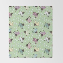 Pajama'd Baby Goats - Green Throw Blanket