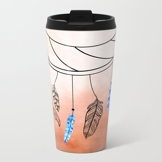 Blue Feathers Metal Travel Mug