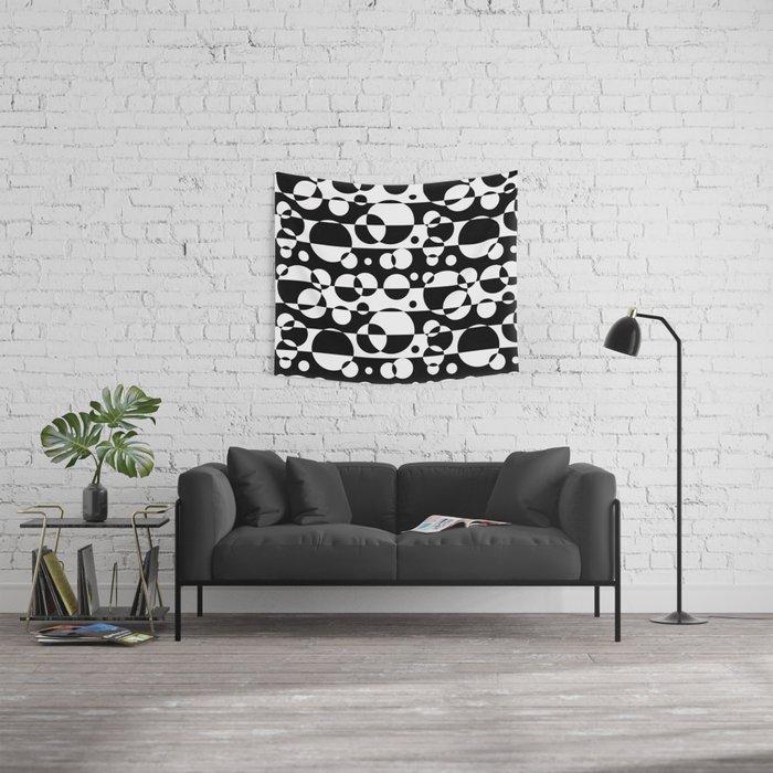 Black White Geometric Circle Abstract Modern Print Wall Tapestry