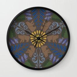 Big Bear Little Fish Brown Wall Clock