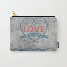 Maritime Design- Love is my anchor on grey abstract background Carry-All Pouch