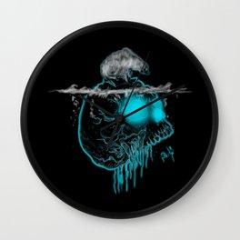 Calavera neón azul con oso polar calentamiento global Wall Clock